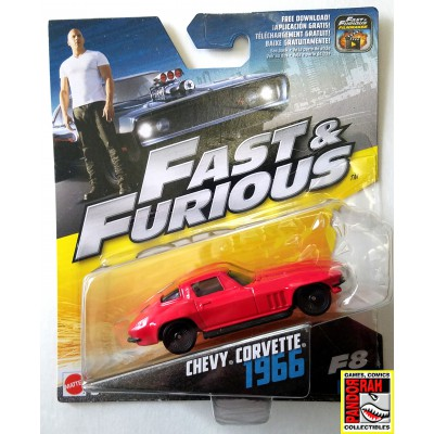 Mattel Fast & Furious 8 1966 Chevy Corvette Rood 1:55